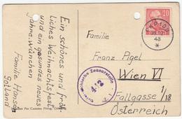 Christmas Greeting Postcard Sent 1948 From PKP108 To Austria - Censored B171010 - Storia Postale