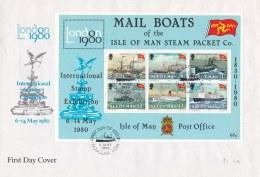 Isle Of Man FDC 1980 Mail Boats Souvenir Sheet (LAR6-8) - Ships