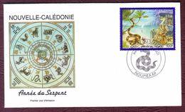 NOUVELLE-CALEDONIE  2001 - Enveloppe 1er Jour .Année Lunaire Chinoise Du Serpent. - Usados