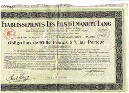 OBLIGATION De Mille Francs - Etablissements LES FILS D'EMANUEL LANG Paris - 1930 - Coupons - Textile
