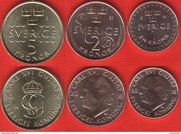 "Sweden Set Of 3 Coins: 1 - 5 Kronor 2016 ""Carl XVI Gustaf"" UNC - Schweden"