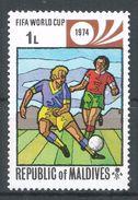 Maldive Islands1974. Scott #516 (MNH) Soccer, Emblem - Maldives (1965-...)