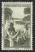AOF AFRICA OCCIDENTALE FRANCESE AFRIQUE FRANCAISE 1947 Azwa Women At NIGER RIVER FIUME DONNA 25f USATO USED OBLITERE - Usati