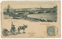 St Petersbourg Pont De Nicolas Troika Edit Stengel Dresde 12062 Sent To Rioz Haute Saone France One Corner Damaged - Russia