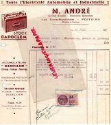 86- LES TROIS BOURDONS- POITIERS- BELLE FACTURE M. ANDRE- ELECTRICITE AUTOMOBILE ET INDUSTRIELLE- BAROCLEM-1937 - Cars