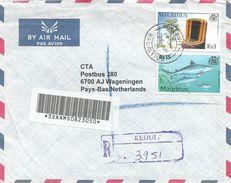 Mauritius 2001 Reduit Ebony Wood Shark Barcoded Registered Cover - Mauritius (1968-...)
