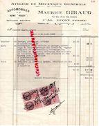 85 - LUCON- FACTURE MAURICE GIRAUD- ATELIER MECANIQUE GENERALE AUTOMOBILE-PEUGEOT-60-62 RUE DES SABLES- 1938 - Cars