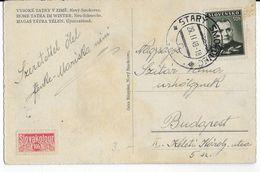 SLOVAQUIE - 1940 - CP De STARY SMOKOVEC Avec TIMBRE SLOVAKOTOUR ROUGE => BUDAPEST (HONGRIE) - Slovaquie