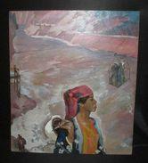 Ancien Grand Tableau Huile Sur Isorel Paysanne Ouzbèke Peintre Russe XX ème - Olieverf