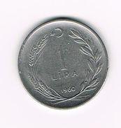 ) TURKIJE  1  LIRA  1960 - Turquie