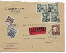 SLOVAQUIE - 1943 - ENVELOPPE EXPRES De BRATISLAVA => GENEVE (SUISSE) - Slovaquie