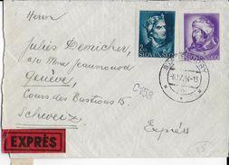 SLOVAQUIE - 1944 - ENVELOPPE EXPRES Avec CENSURE De STARE HORY => GENEVE (SUISSE) - Slovaquie