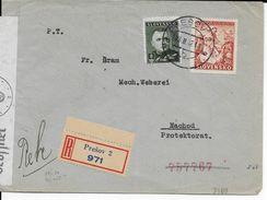 SLOVAQUIE - 1942 - ENVELOPPE RECOMMANDEE Avec CENSURE De PRESOV => NACHOD - Slovaquie