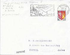 HAUTES ALPES 05  - EMBRUN -  FLAMME N° 1457   - VOIR DESCRIPTION  -  1964  - TIMBRE N° 1353 A AU TARIF 15.9.64 IMPRIME - Postmark Collection (Covers)