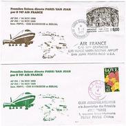 Aérophilatélie - 1ère Liaison Directe Par Air France (Boeing 747) - Paris / San Juan (Etats-Unis) Et Retour - 04 Nov 88 - Transportmiddelen