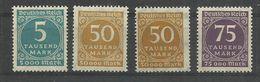 """Deutsches Reich 274,275a,b,276 """"4 Briefmarken Im Satz Mit 50000 Im Kreis In 2 Farben """" Postfrisch  Mi.: 5,50 - Allemagne"""