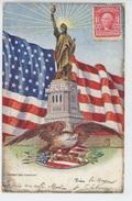 U.S.A. - NEW YORK - Jolie Carte Gaufrée Statue De La Liberté Et Drapeau Américain (embossed Postcard) - Statue De La Liberté