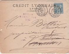 SAGE 15C PERFORE CL SUR LAC CREDIT LYONNAIS DAGUIN 3/7/85 - POSTE RESTANTE VERNAISON +RETOUR NON RECLAMEE- 3 SCANS - France