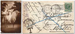 1914 Malta Postcard Used Naples Italy And Taxed In Malta - Malta