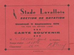 STADE LAVALLOIS SECTION DE NATATION 11/9/70 CARTE SOUVENIR -       TDA86 - Natation