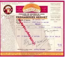 74- SAINT FELIX- FACTURE FROMAGERIES MERMET-FROMAGE GRUYERE- LA VACHE DES SAVOIES-PARMESAN-REBLOCHON-1937 - Alimentaire