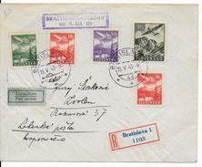 SLOVAQUIE - 1943 - ENVELOPPE RECOMMANDEE Par AVION 1° VOL De BRATISLAVA => PRESOV - Slovaquie