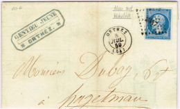 """E2-N° 14A Bleu S Bleuté Orthez  Basses Pyrénées Vignette """" Manufacture D'allumettes En Cire"""" - 1853-1860 Napoléon III"""