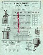 75-PARIS- LETTRE LOUIS PRIMAT-MACHINES AGRICOLES-APPAREILS LAITERIE-FROMAGERIE-LAIT BEURRE-19 RUE PASTEUR-ECREMEUSE - Alimentaire