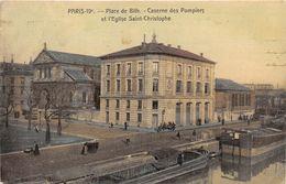 75019-PARIS- PLACE DE BITH, CASERNE DES POMPIERS ET L'EGLISE ST-CHRISTOPHE - District 19