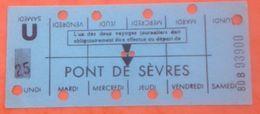 RATP METRO PONT DE SEVRES  BOULOGNE BILLANCOURT - CARTE HEBDOMADAIRE ELEVE OU ETUDIANT - LIGNE 9 - Abonnements Hebdomadaires & Mensuels