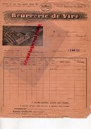 14-VIRE-RARE FACTURE 1937- BEURRERIE DE VIRE -FROMAGERIE LAITERIE-BEURRE LAIT-AVEC VUE AERIENNE USINE -M. CAPILLON PARIS - Alimentaire