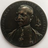 Médaille Bronze.  A. Max Bourgmeste De Bruxelles 1914. A. Devreese. Les Vertus Civiques. 60mm - 96g - Profesionales / De Sociedad