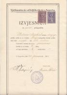 DOKUMENT JUGOSLAWIEN 1928 Mit 2 + 3 Dinara Stempelmarke, A3 Format, Doppelseitig, Gefaltet, Gute Erhaltung - 1919-1929 Königreich Der Serben, Kroaten & Slowenen
