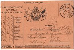 MILITARIA.14-18. ECULLY (69) CORRESPONDANCE SPECIALE Pour Les ARMEES. TRESOR Et POSTE N° 135. - Guerre 1914-18