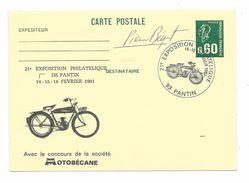 Exposition Philatélique De PANTIN - Société MOTOBECANE - 1981 - Thème MOTO..Dédicace Autographe De Pierre BEQUET - Storia Postale