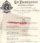 """16- SAINT SAVINIEN SUR CHARENTE- PRIX  VENTE STE LIQUEUR DE COGNAC """" LA FRANCOISE """"  1910 FRANCOIS 1ER - Historical Documents"""