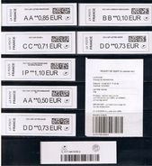 8ATMs, BROTHER, AA0.85/BB0.10/CC0.71/DD0.73/AA0.50/IP 1.10/DD0.73 SUIV.COMPLEMENTS, NOUV. PAPIER LARGE, CODE DATAMATRIX - 2010-... Geïllustreerde Frankeervignetten