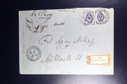 Russian Latvia : Registered Cover 1904 Livland Salisburg Mazsalaca  Strip Of 2 - 1857-1916 Imperium