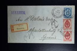 Russian Latvia :Stationary  Registered Cover Uprated  1900 Kurland Talsen Talsi Charlottenburg Waxed Sealed U 31 A - 1857-1916 Imperium