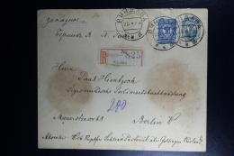 Russian Latvia : Registered Stationary Cover Uprated 1909 Kurland Windau Ventspils To Berlin Mi U 34 B - 1857-1916 Imperium