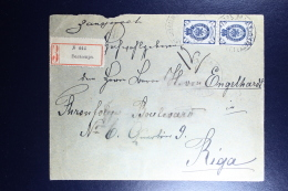Russian Latvia : Registered Cover 1901 Livland Wolmar Valmiera To Riga Strip - 1857-1916 Imperium