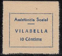 VIÑETA-SELLO GUERRA CIVIL ASSISTENCIA SOCIAL VILABELLA 10 CTMS. DENTADO-apócrifa- - Republican Issues