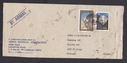 Nepal: Airmail Cover To Netherlands, 2 Stamps, Mountain, Bank (minor Damage) - Nepal