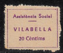 VIÑETA-SELLO GUERRA CIVIL ASSISTENCIA SOCIAL VILABELLA 20 CTMS. DENTADO -APÓCRIFA - Republican Issues