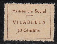 VIÑETA-SELLO GUERRA CIVIL ASSISTENCIA SOCIAL VILABELLA 30 CTMS. DENTADO -Apócrifa- - Republican Issues