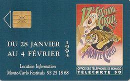 CARTE#-PUBLIC-MONACO-50U-MF25-GEMAS/2eLogo-12/92-17e FESTIVAL Du CIRQUE-UTILISE-V°N°B2B0P0004 / -TBE - Monaco