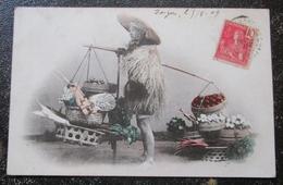 Japon Coree  ? Vendeur Fruits Et Legumes Cpa Timbrée Indochine  1909 Texte Militaire Interressant - Corée Du Sud