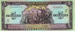 * EL SALVADOR 5 COLONES 1977 P-126a  [SV126a] - El Salvador