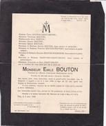 14-18 Emile BOUTON Pasteur Protestant Réfugiés Belges à Glasgow 1915-1919 Huy 63 Ans 1930 Faire-part Décès - Todesanzeige