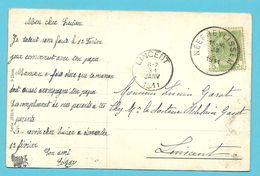 83 Op Kaart Met Stempel NEERHEYLISSEM (28mm) T4R, Als Aankomst Stempel LINCENT - 1893-1907 Wappen